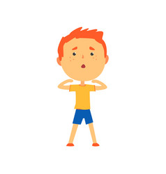 redhead boy doing sport exercise kids physical vector image