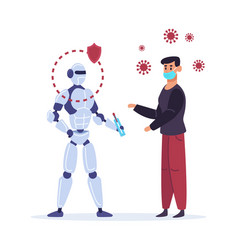 robot curing ill person artificial intelligence vector image
