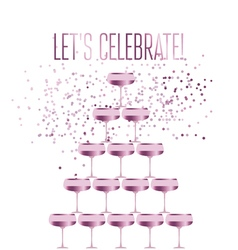rose sparkling champagne glass pyramid flat vector image