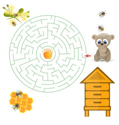round maze riddle game find way your path bear vector image