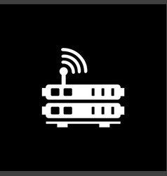 router icon on black background black flat style vector image