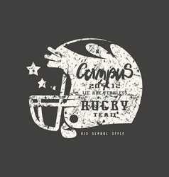 rugby helmet badge with shabby texture vector image