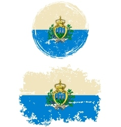San Marino round and square grunge flags vector image