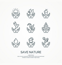 save nature the set of linear forest of icons vector image