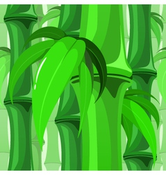 Seamless Bamboo Pattern with Leaves vector image