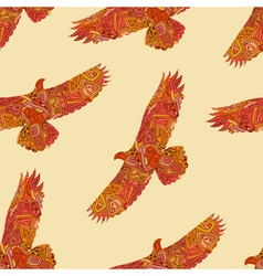 Seamless decorative tribal pattern with eagles vector image