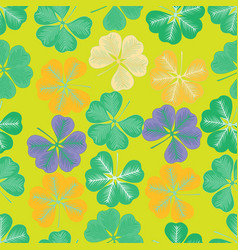 Seamless pattern with leaves of clover vector