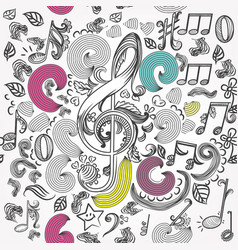 Seamless wallpaper pattern with doodle music vector
