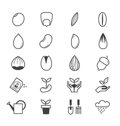 Seeds and Gardening Icons Line vector
