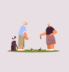 senior woman man couple playing golf aged family vector image
