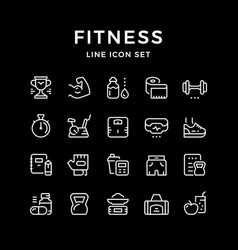 set line icons fitness vector image