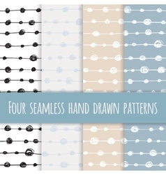 Set of four abstract seamless ink patterns vector image