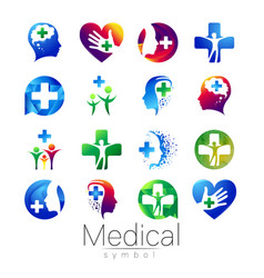 set of medical sign with cross inside vector image