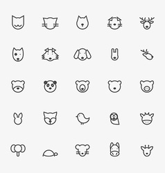 Set of Minimalistic Animal Line Icons vector