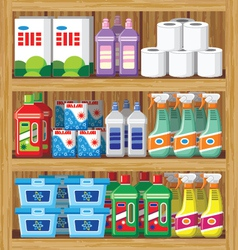 Shelfs with household chemicals vector image