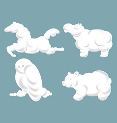 Silhouettes clouds in shape animals in vector