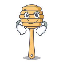 Smirking honey spoon character cartoon vector