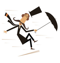 strong wind mustache man and umbrella vector image