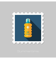 Sun Cream in Spray flat stamp Summer Vacation vector
