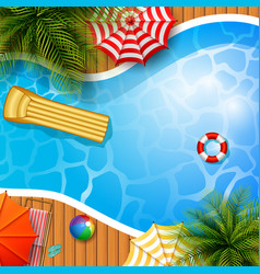 Swimming pool top view palm treesmattress vector