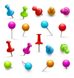 thumbtack 3d multicolored push pins for notice vector image