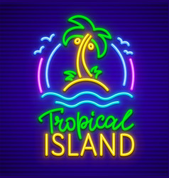 Tropical island neon sign vector