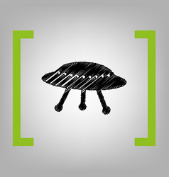 Ufo simple sign black scribble icon in vector