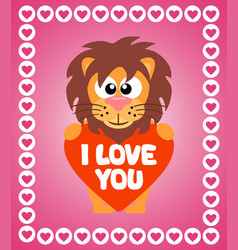 valentines day background card with lion vector image