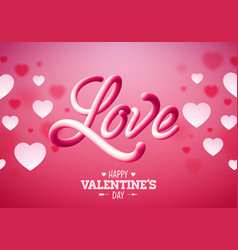 valentines day design with white heart and love vector image