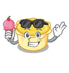With ice cream egg tart character cartoon vector