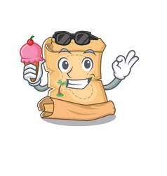 With ice cream mascot treasure map in character vector