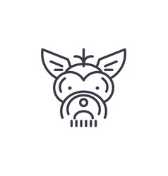 yorkshire terrier line icon sig vector image