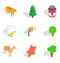 Forested area icons set isometric style vector