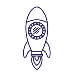 purple line contour of space rocket vector image