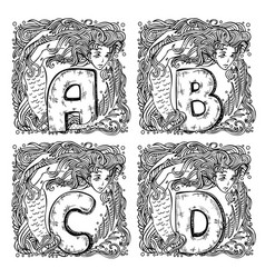 retro mermaid alphabet - a b c d vector image