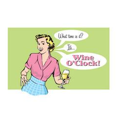 retro pretty woman with wine vector image vector image