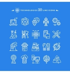 Technologies White Icons vector image