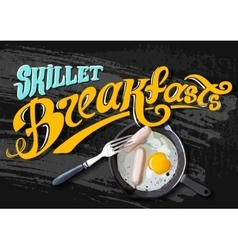 Breakfast Poster Fried eggs and sausage on pan vector image vector image