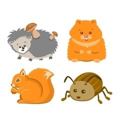 Cute Animal Squrrel Hedgehog Hamster Beetle vector image vector image