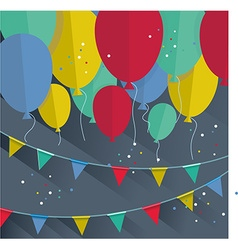 Flat happy Birthday festive background with vector image