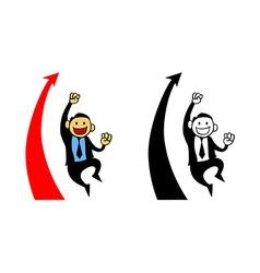 Happy businessman reach sales target vector
