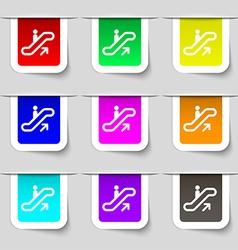 elevator Escalator Staircase icon sign Set of vector image