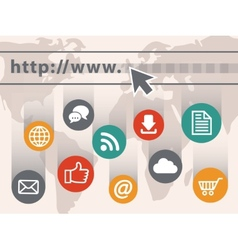 Internet with web icons vector image vector image