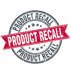 product recall round grunge ribbon stamp vector image vector image