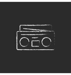 Radio cassette player icon drawn in chalk vector