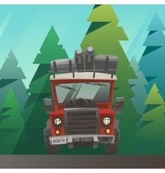 Red loaded truck ride through the summer forest vector image vector image