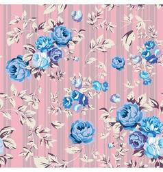 Rose Seamless Pattern Pink Blue vector image