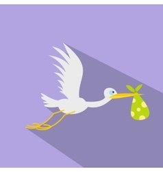 Stork baby flat icon vector image vector image