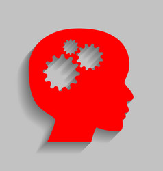 thinking head sign red icon with soft vector image vector image