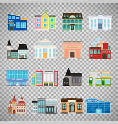 city buildings icons on transparent background vector image